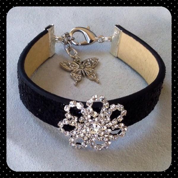 Black Bling Leather Bracelet