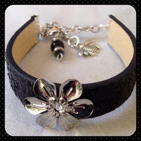 Black Sparkle Flower Bracelet Bling