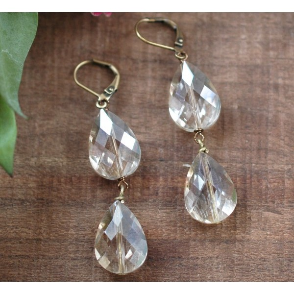 2 champagne crystal drops on antiqued brass lever back earrings