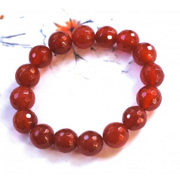 Faceted Carnelian Stretchy