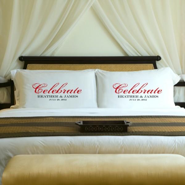 Personalized Celebration Couples Pillow Case Set