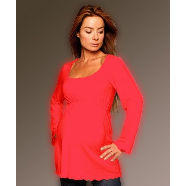 Long Sleeve Maternity ScoopTop, Red