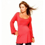 Long Sleeve Maternity ScoopTop, Red